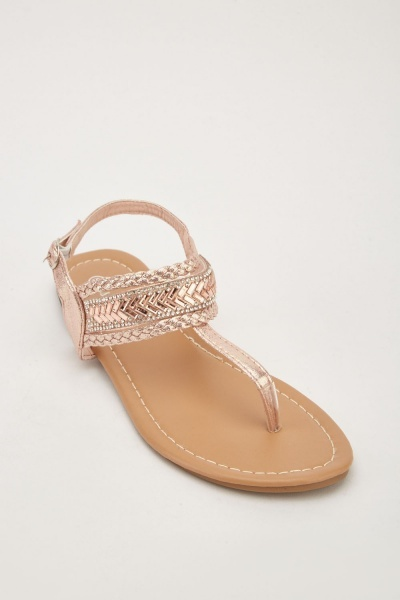 Embellished Flat Thong Sandals