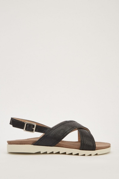 6303ec38de4d Shimmery Cross-Strap Sandals - Black - Just £5