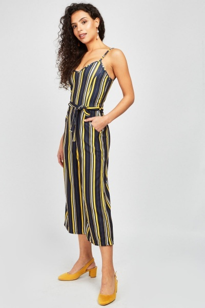 Belted Stripe Crop Jumpsuit
