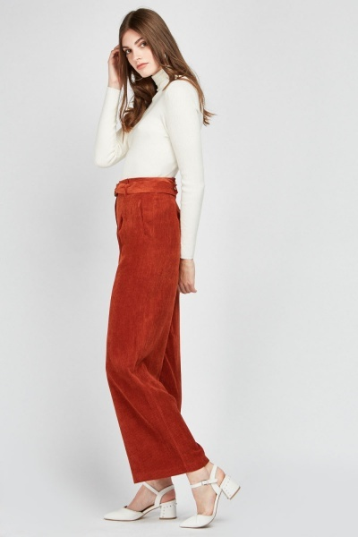 D-Ring Belted Corduroy Trousers