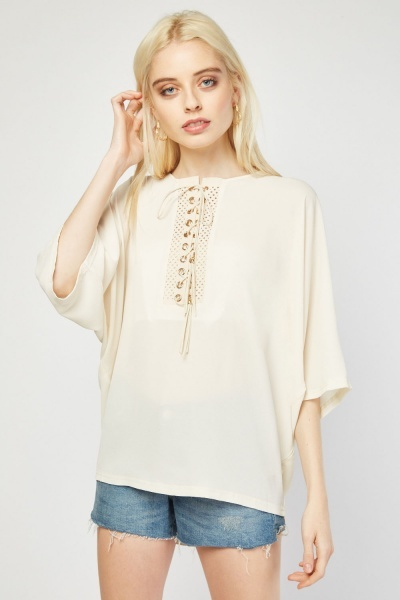 Lace Up Tassel Smock Blouse