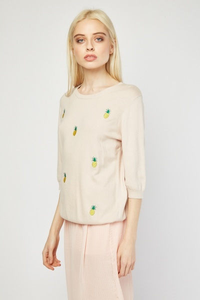 Pineapple Tree Embroidered Knit Top