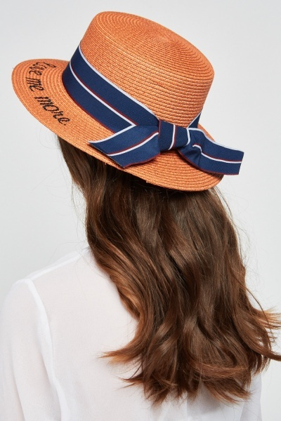 Striped Ribbon Boater Hat