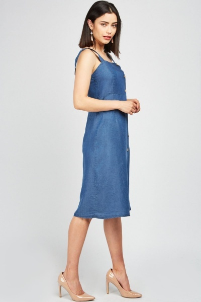 Button Front Light Denim Dress
