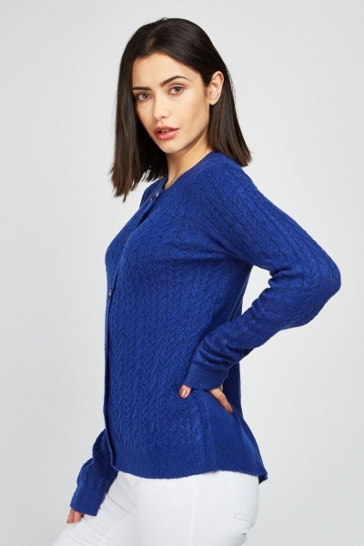 Cable Knit Royal Blue Cardigan