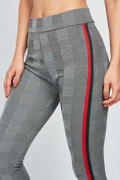 Checked Fitted Trousers