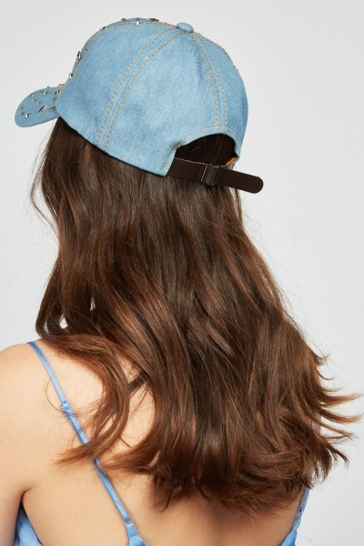Encrusted Denim Cap