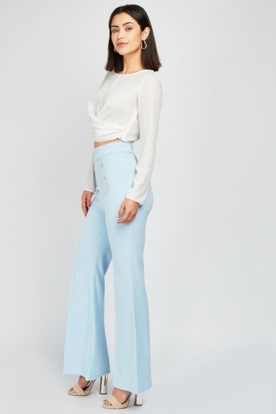 Flared Leg Button Trim Trousers