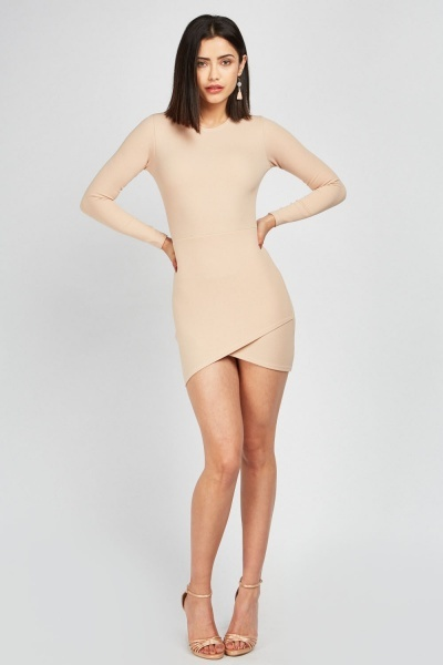 Long Sleeve Wrap Hem Dress