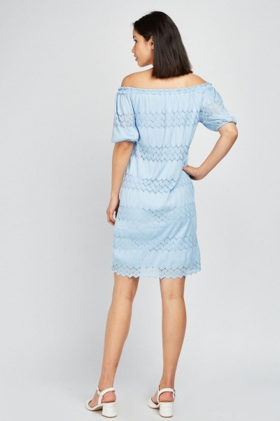 Off Shoulder Lace Contrast Dress