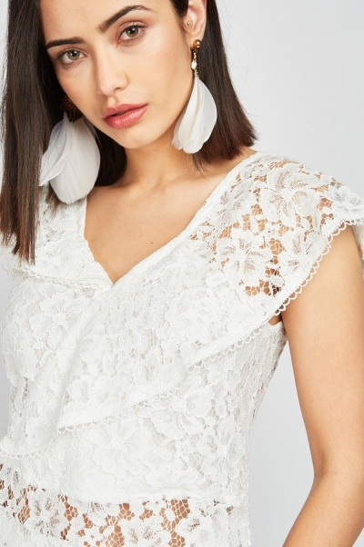 Ruffle Laser Cut Lace Top