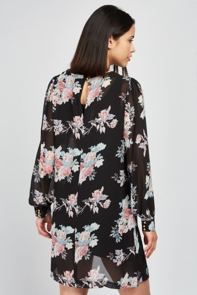 Sheer Chiffon Floral Printed Dress