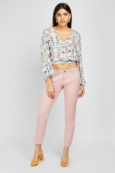 Embroidered Side Skinny Jeans