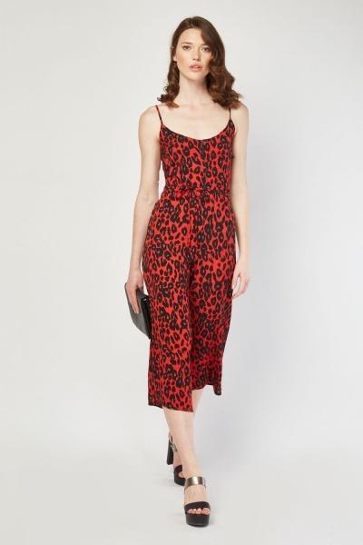 55f3d293d8d Leopard Print Culotte Jumpsuit - Red Multi - Just £5