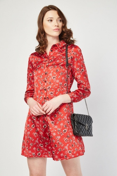 Printed Sateen Shirt Dress