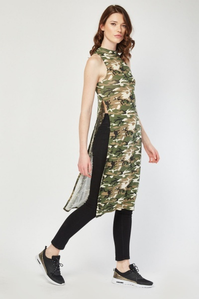 Side Slit Long Camouflage Top