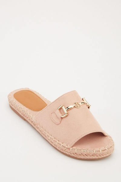 Faux Suede Flat Sliders