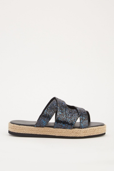 Glittered Cross-Strap Platform Sliders