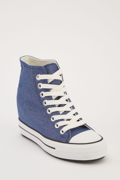 Shimmery Lace Up Wedge Sneakers