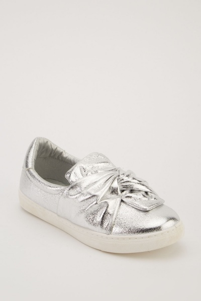 Twisted Front Metallic Plimsolls