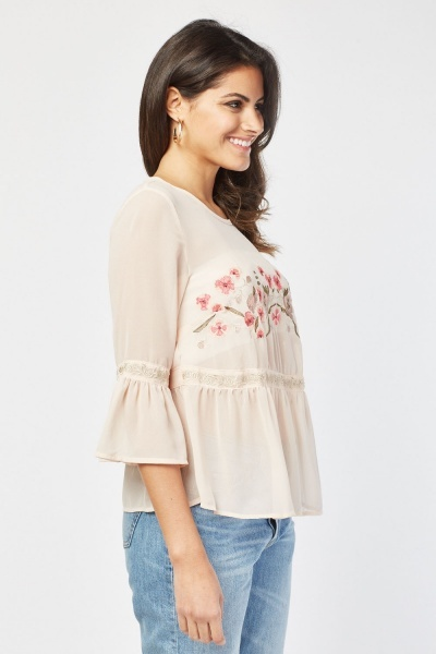Embroidered Flower Front Chiffon Blouse