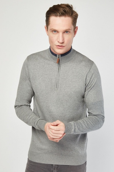 Fine Knit Zip Up Sweater