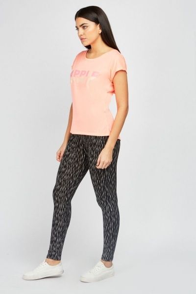 Speckled Print Basic Leggings