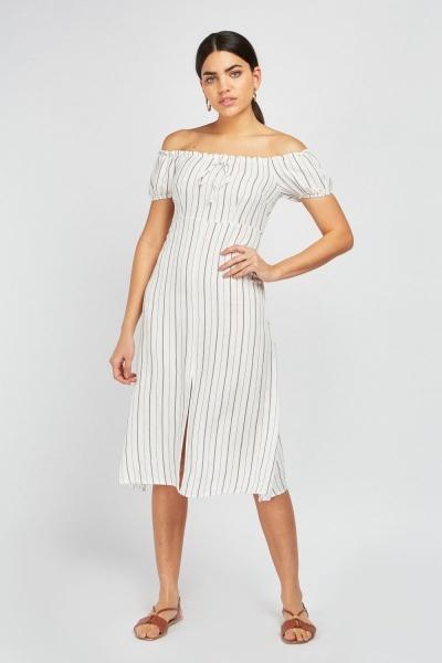 7acafcd67fda2 Vertical Stripe Off Shoulder Dress - White - Just £5