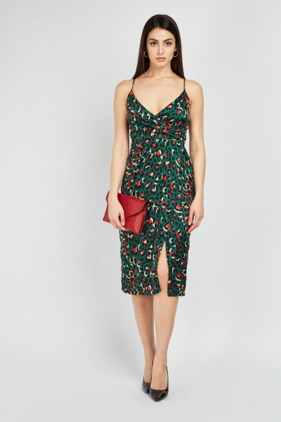 a48534625cd9 Animal Printed Midi Wrap Dress - Green Multi - Just £5