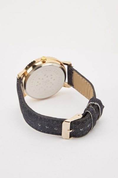Denim Effect Strap Watch