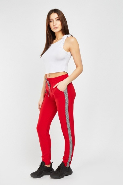 Jogger Pants With Plaid Side