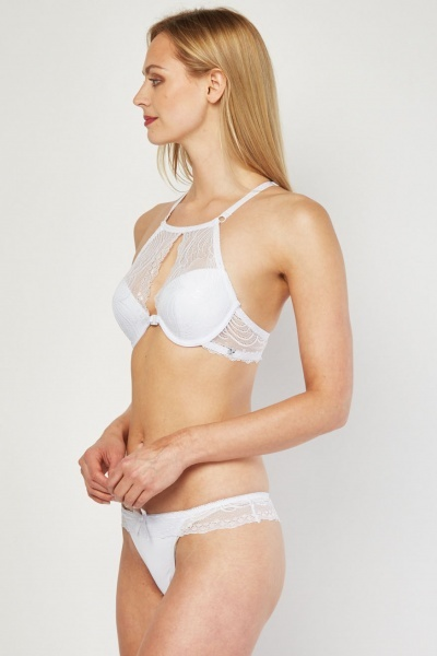 Lace Overlay Padded Bra And Thong Set