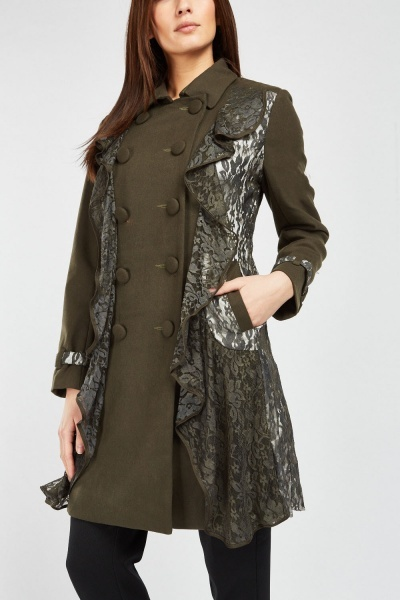 Lace Ruffle Trench Coat