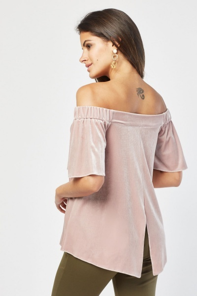 Off Shoulder Velveteen Top