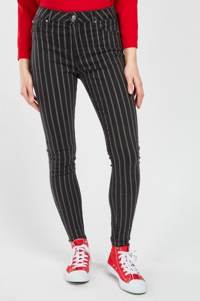 Pin Stripe Raw Hem Jeans