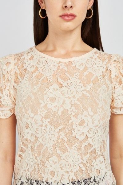 Quilted Sleeve Lace Top