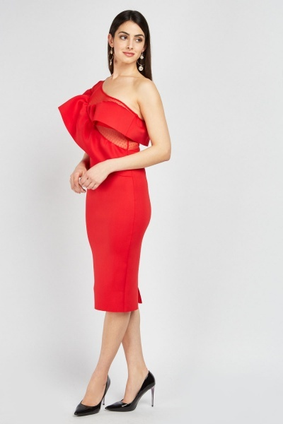 Ruffle Mesh Insert Midi Scuba Dress