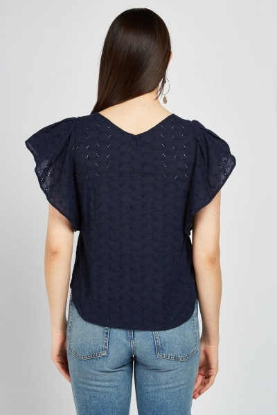 Ruffle Navy Broderie Top