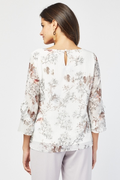 Sheer Bird Print Casual Blouse