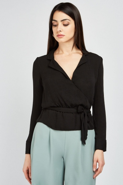 Tie Up Waist Wrap Blouse