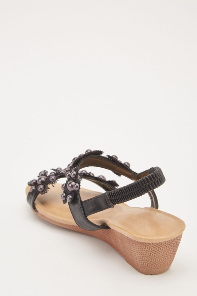 Faux Pearl Crochet Trim Sandals