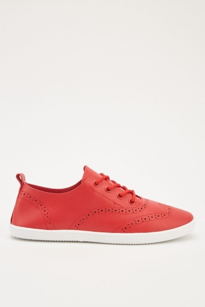 Laser Cut Lace Up Plimsolls