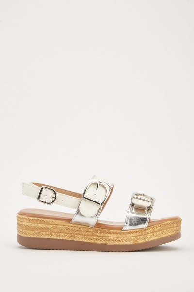Metallic Buckle Strap Sandals