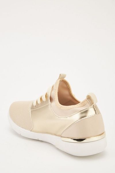 Metallic Mesh Overlay Trainers