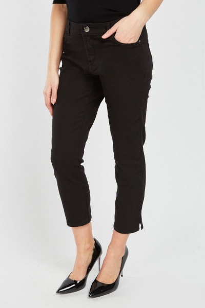 Crop Length Black Jeans