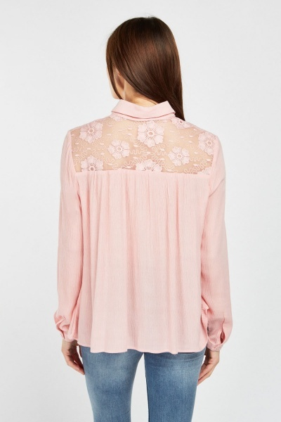 Embroidered Mesh Crinkle Blouse