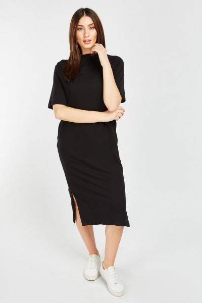 e5d2e2e432d Short Sleeve Basic T-Shirt Dress - Black or Red - Just £5