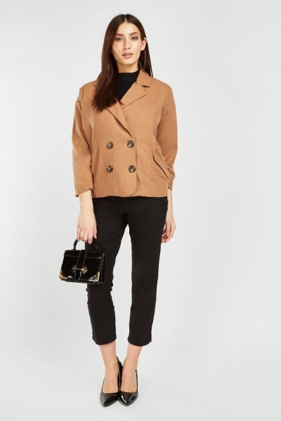 Slanted Flap Pocket Front Jacket