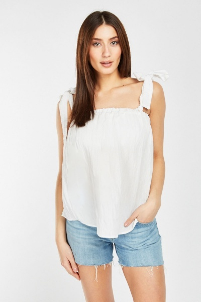 Tie Up  Strap Crinkled Cami Top