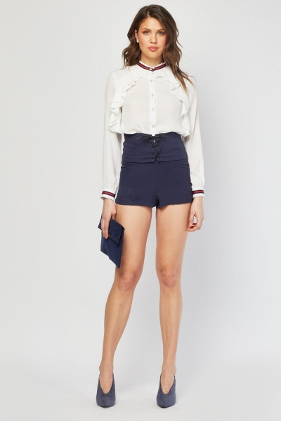 High Waist Lace Up Shorts